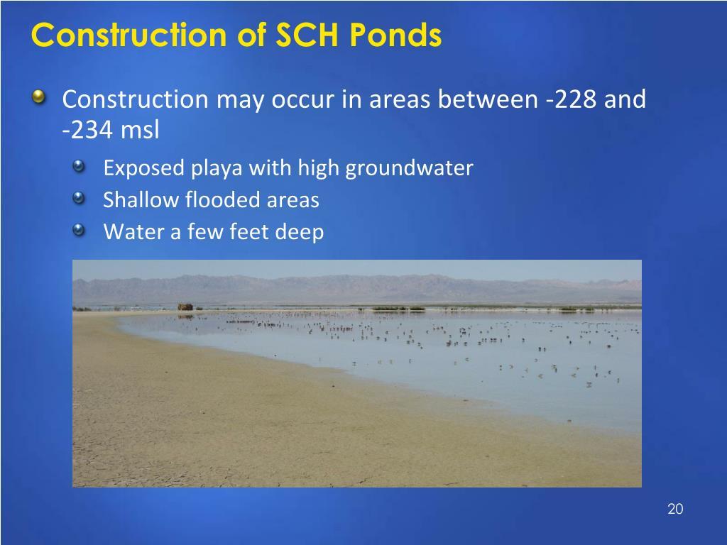 Construction of SCH Ponds