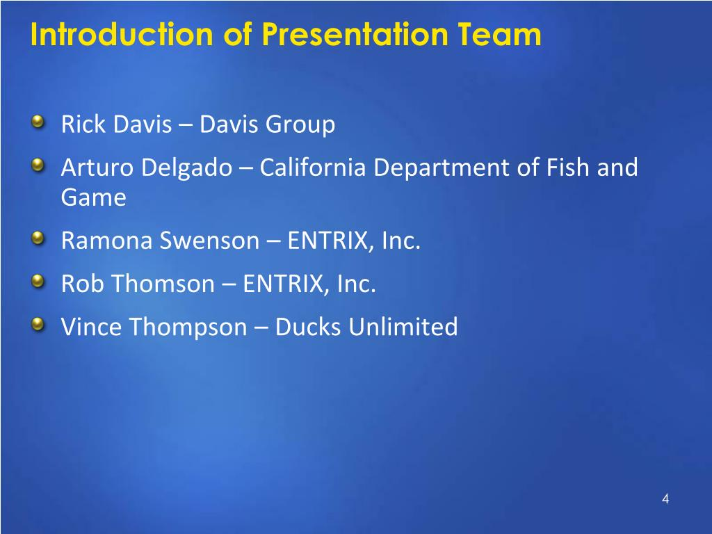 Introduction of Presentation Team