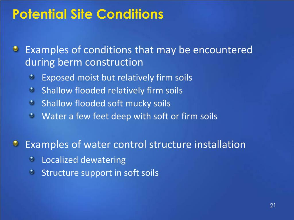 Potential Site Conditions