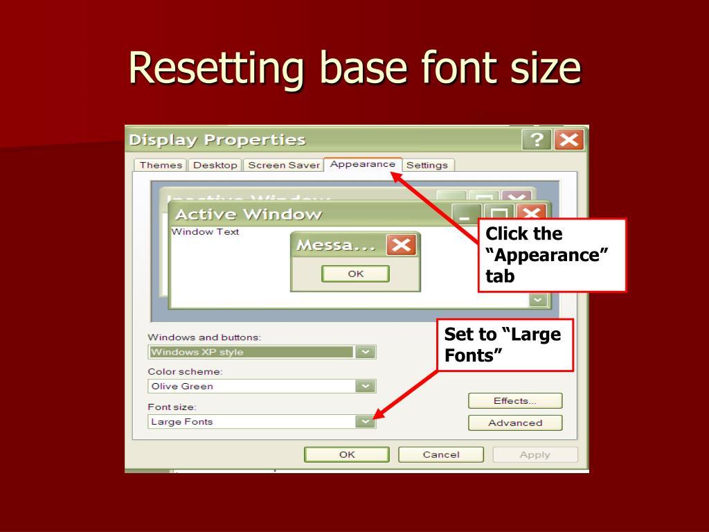 Resetting base font size