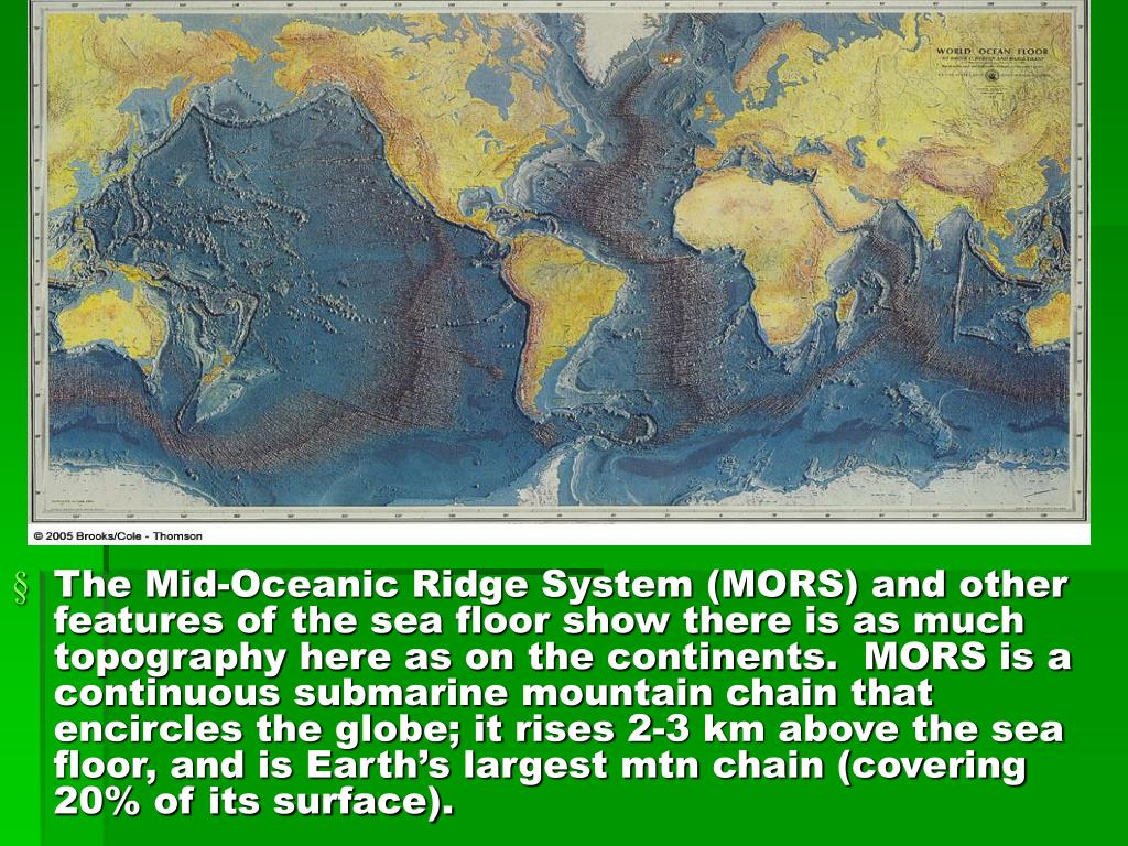 The Mid-Oceanic Ridge System (MORS) and other features of the sea floor show there is as much topography here as on the continents.  MORS is a continuous submarine mountain chain that encircles the globe; it rises 2-3 km above the sea floor, and is Earth's largest mtn chain (covering 20% of its surface).