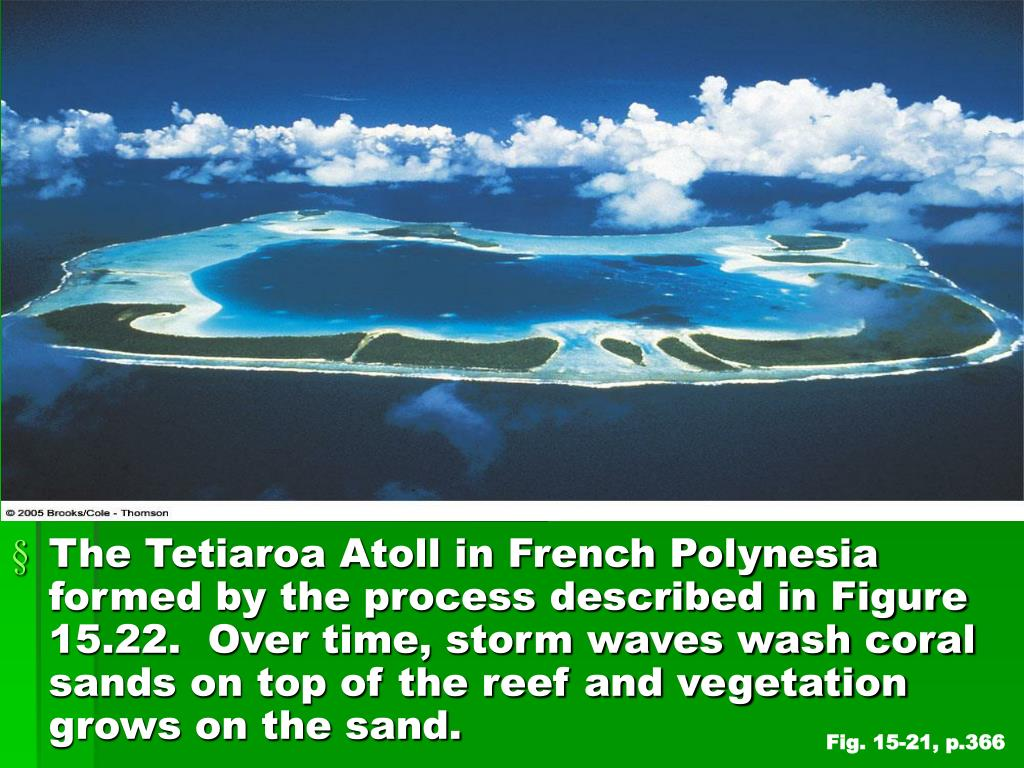 The Tetiaroa Atoll in French Polynesia formed by the process described in Figure 15.22.  Over time, storm waves wash coral sands on top of the reef and vegetation grows on the sand.