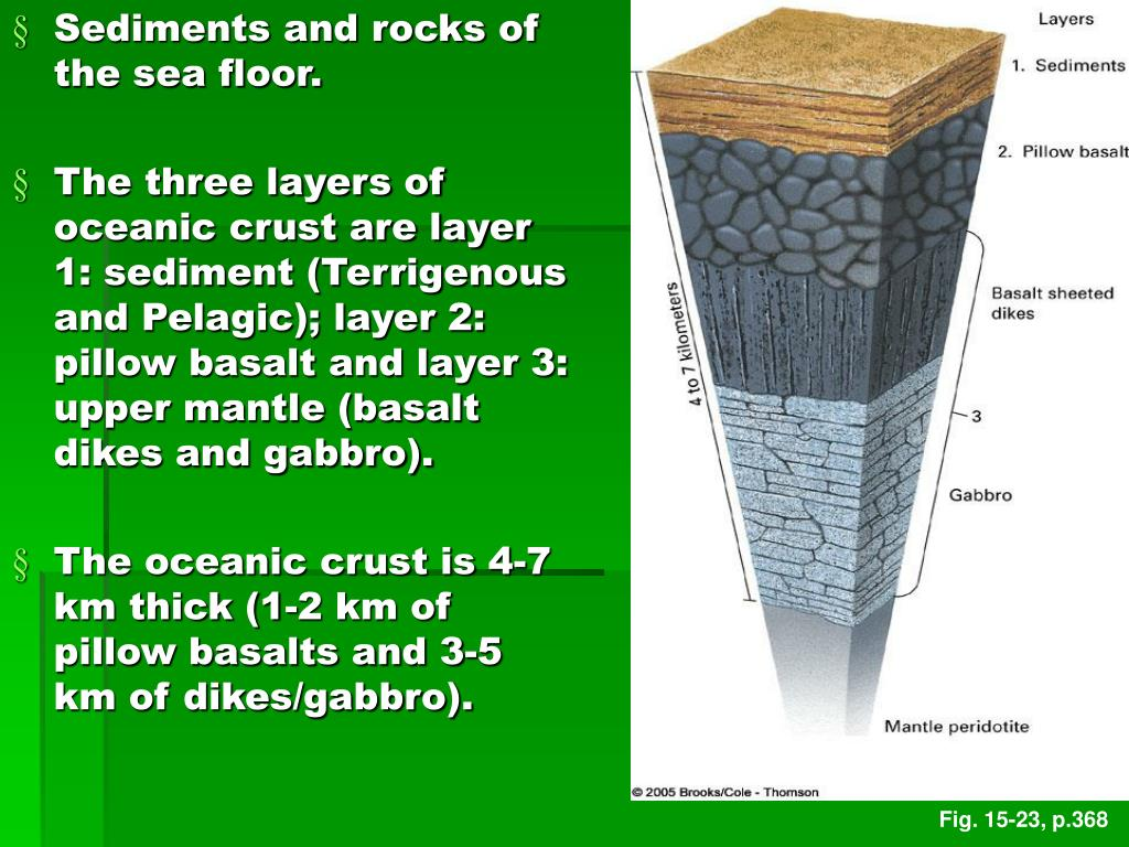 Sediments and rocks of the sea floor.