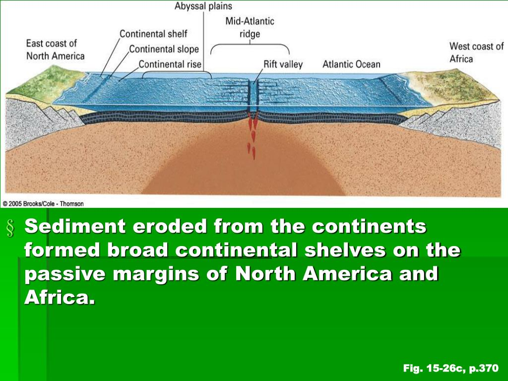 Sediment eroded from the continents formed broad continental shelves on the passive margins of North America and Africa.