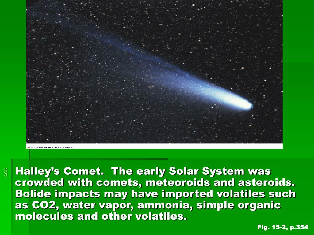 Halley's Comet.  The early Solar System was crowded with comets, meteoroids and asteroids.  Bolide impacts may have imported volatiles such as CO2, water vapor, ammonia, simple organic molecules and other volatiles.