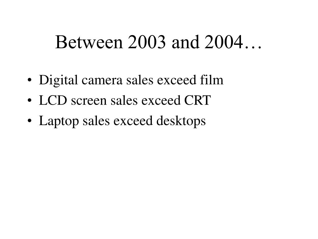 Between 2003 and 2004…