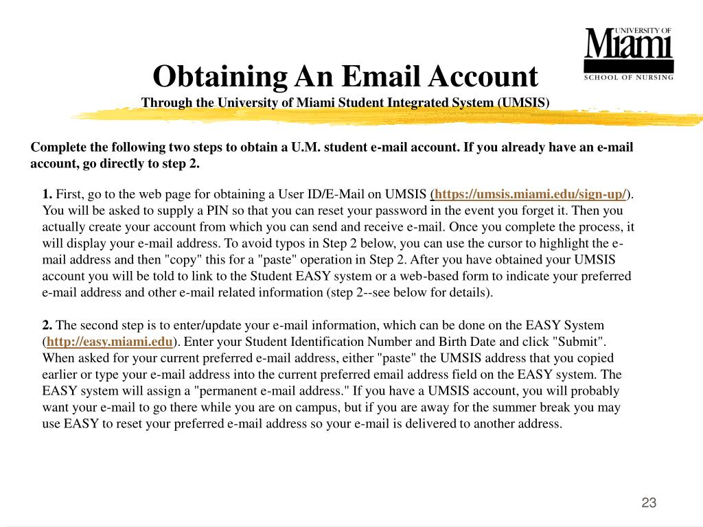 Obtaining An Email Account