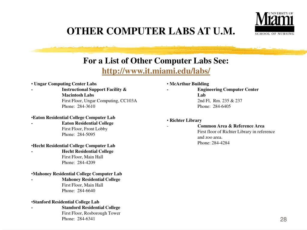 OTHER COMPUTER LABS AT U.M.