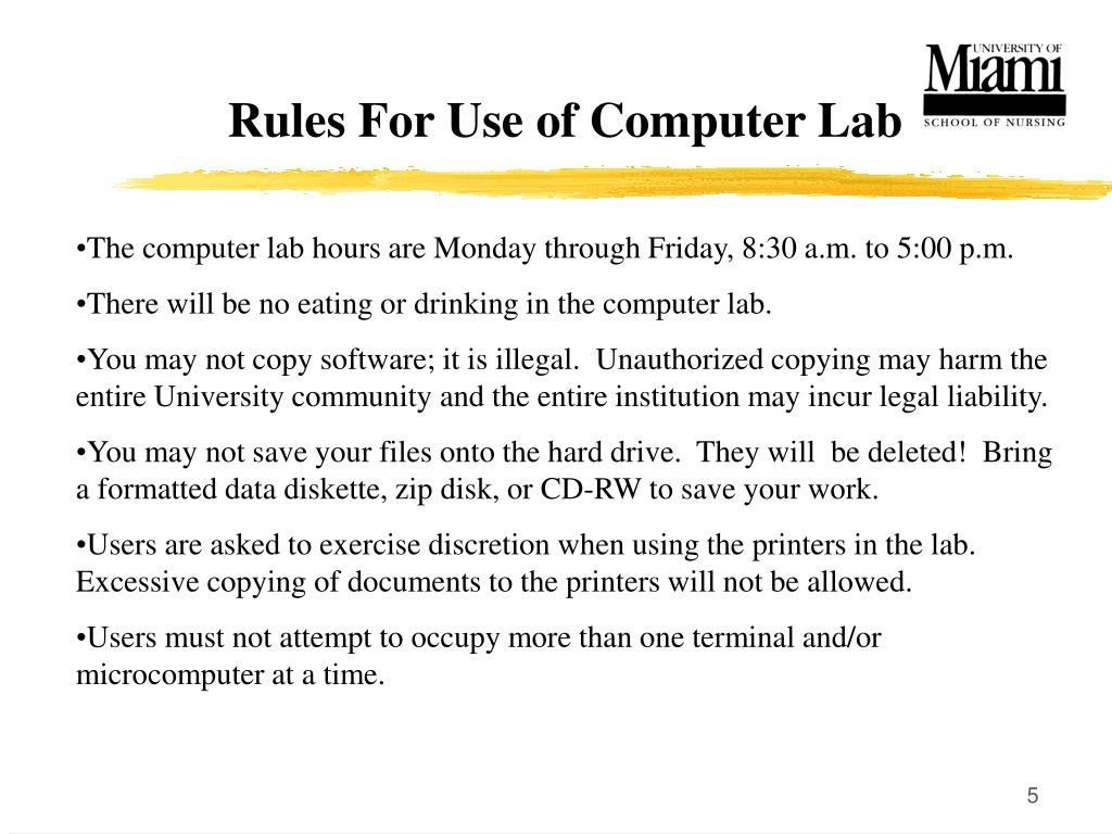 Rules For Use of Computer Lab