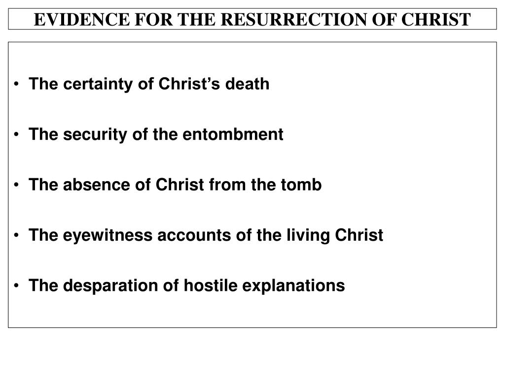 EVIDENCE FOR THE RESURRECTION OF CHRIST