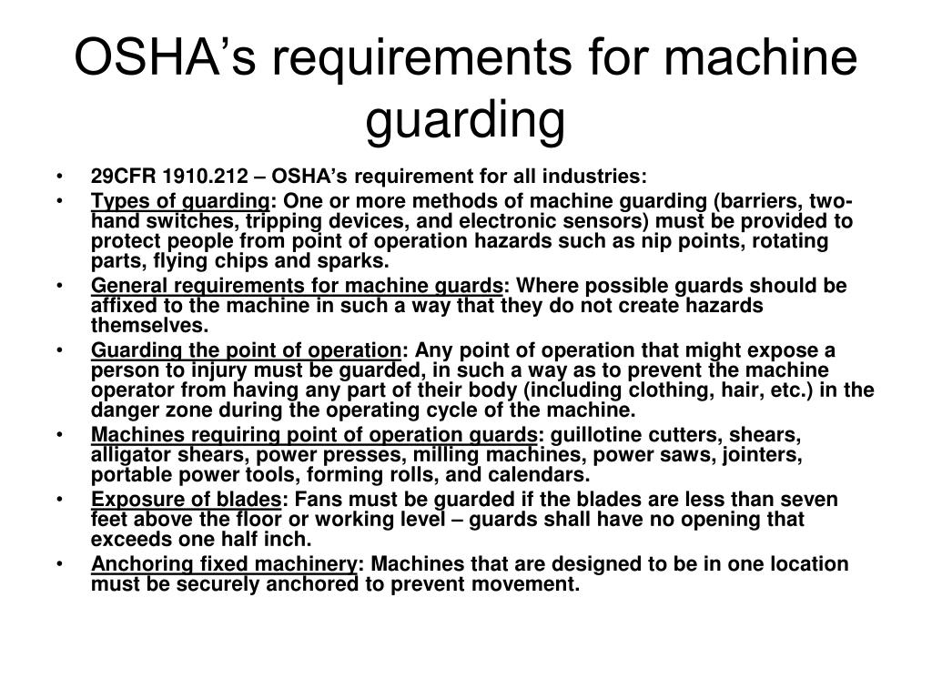 machine requirements