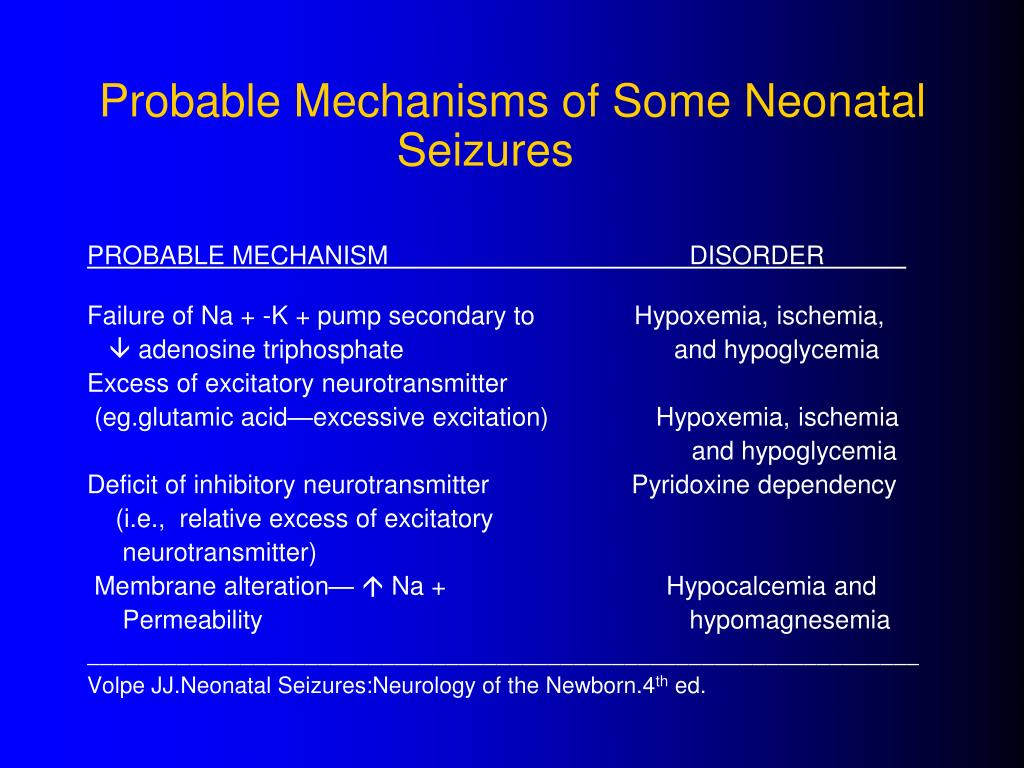 Probable Mechanisms of Some Neonatal Seizures