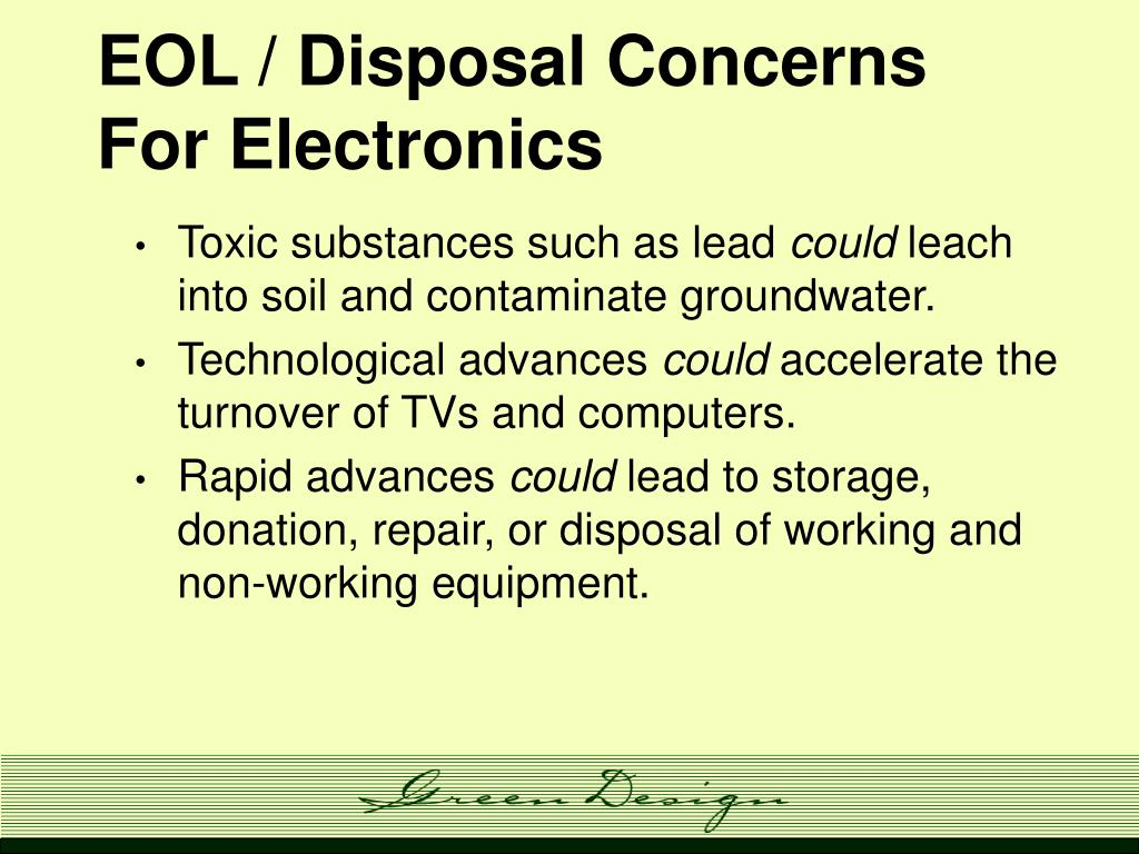 EOL / Disposal Concerns For Electronics