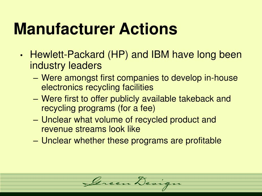 Manufacturer Actions