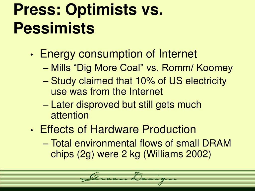Press: Optimists vs. Pessimists