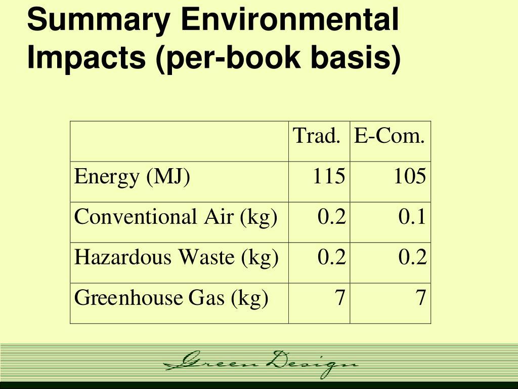 Summary Environmental Impacts (per-book basis)
