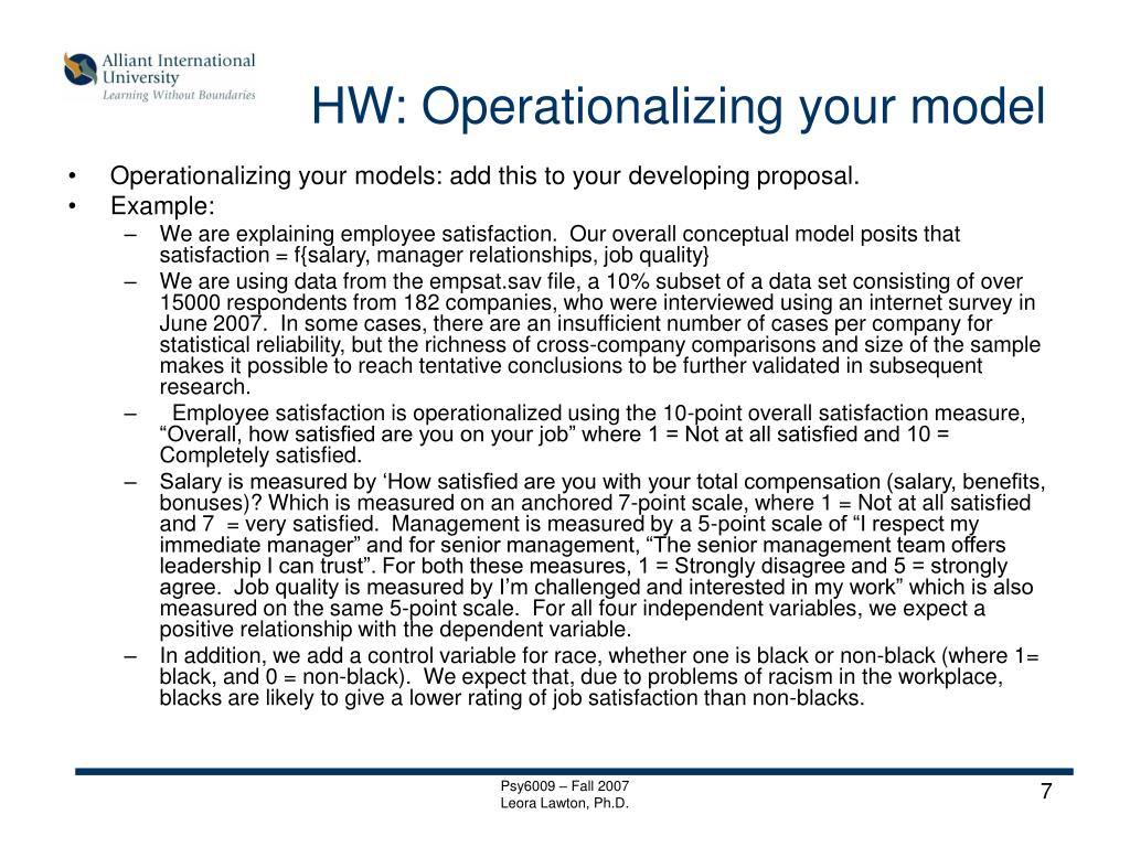 HW: Operationalizing your model