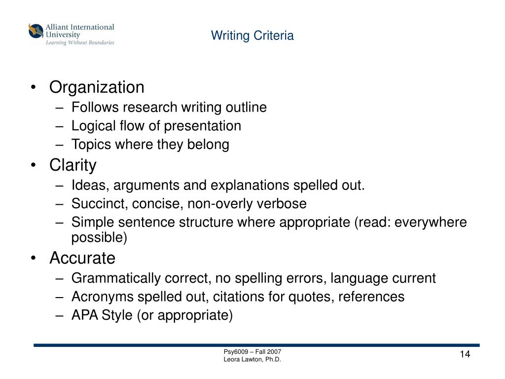 Writing Criteria