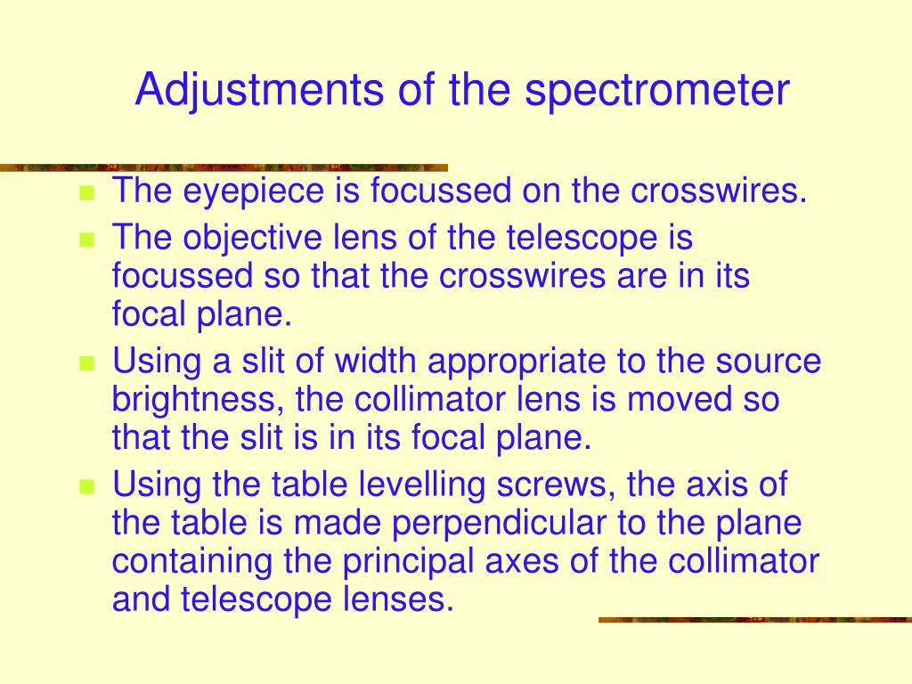 Adjustments of the spectrometer