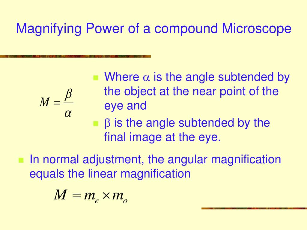 Magnifying Power of a compound Microscope