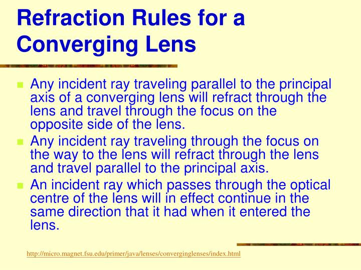 Refraction rules for a converging lens