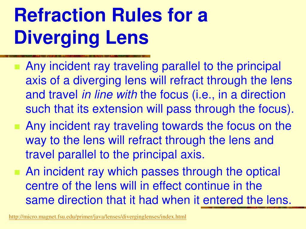 Refraction Rules for a Diverging Lens