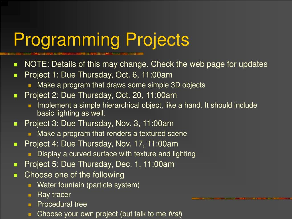 Programming Projects