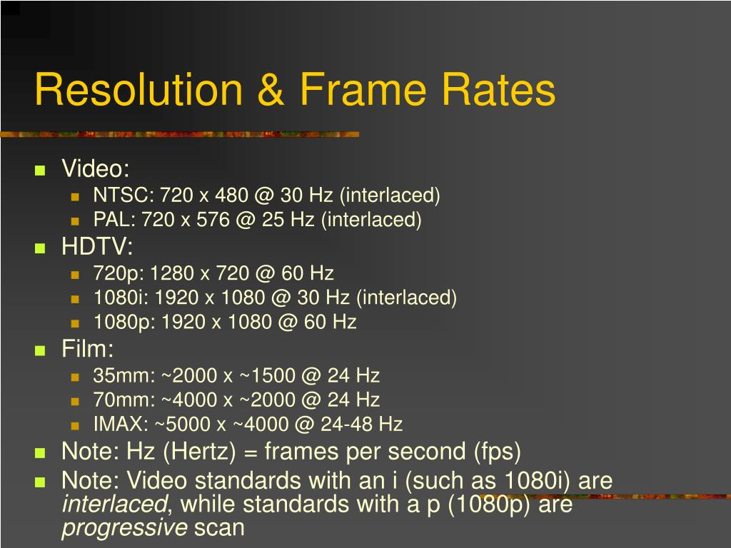 Resolution & Frame Rates