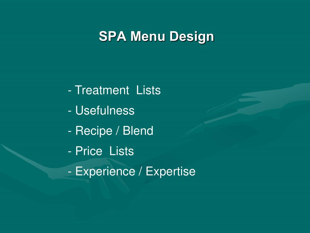 SPA Menu Design