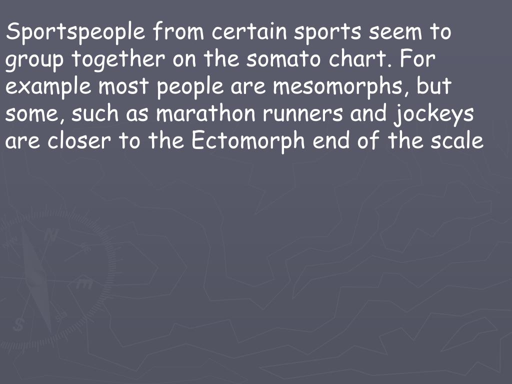 Sportspeople from certain sports seem to group together on the somato chart. For example most people are mesomorphs, but some, such as marathon runners and jockeys are closer to the Ectomorph end of the scale