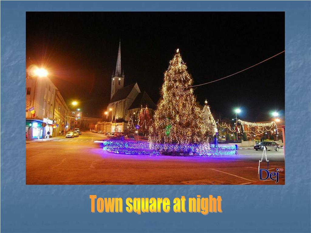 Town square at night