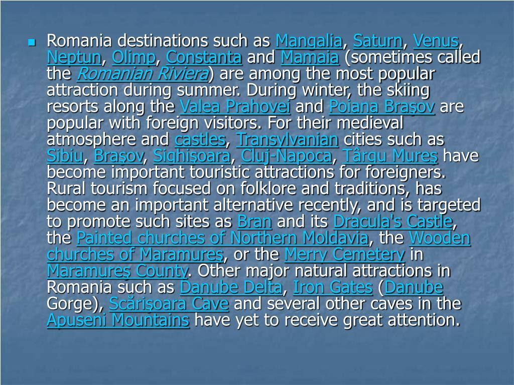 Romania destinations such as