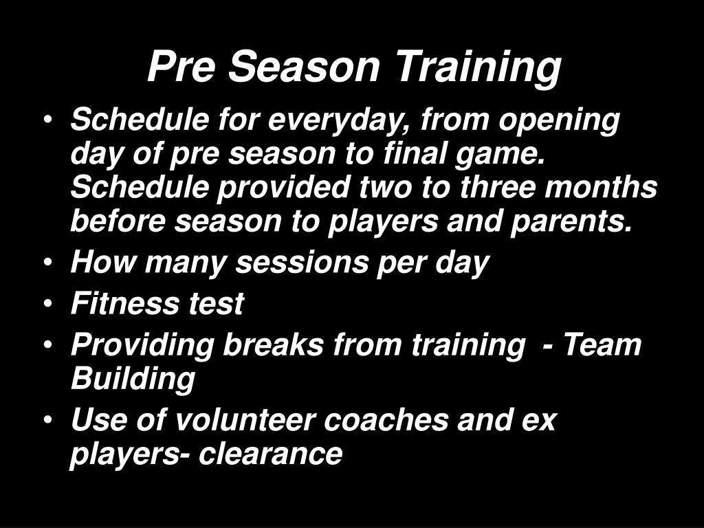 Pre Season Training