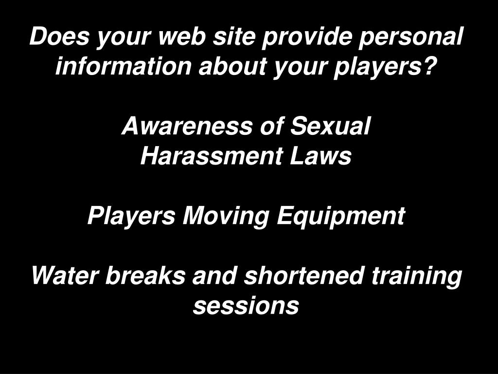 Does your web site provide personal information about your players?