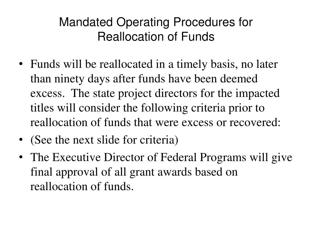 Mandated Operating Procedures for