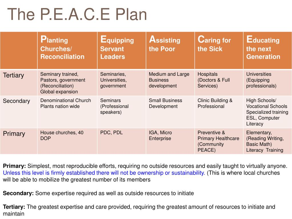 The P.E.A.C.E Plan