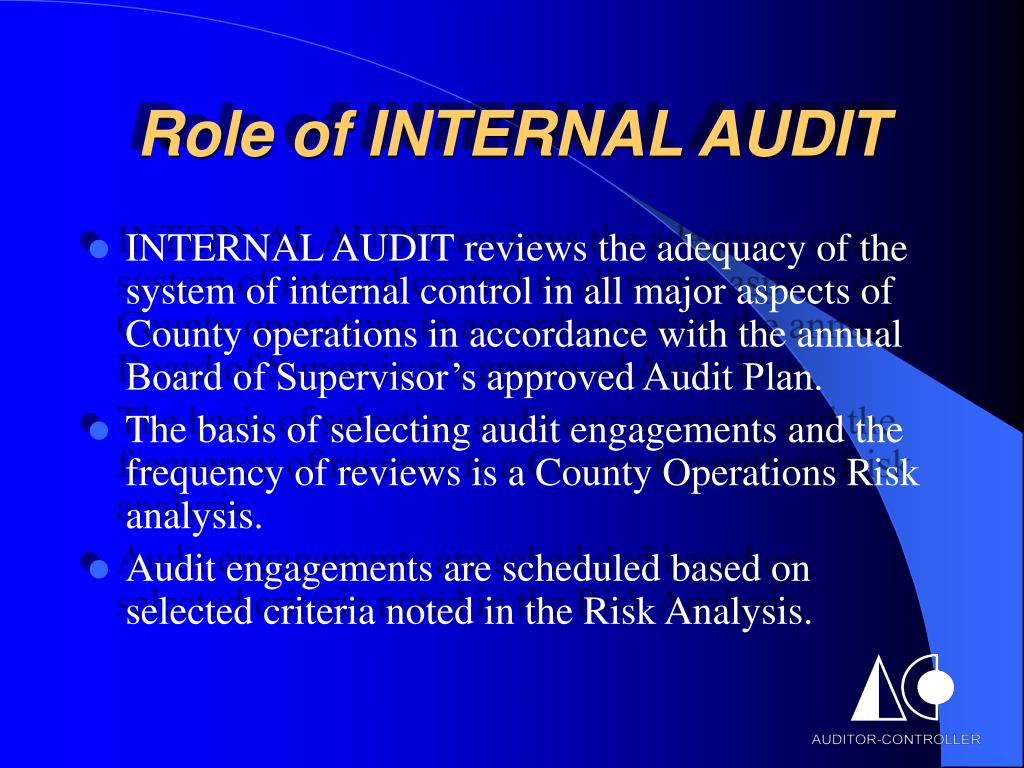 Role of INTERNAL AUDIT