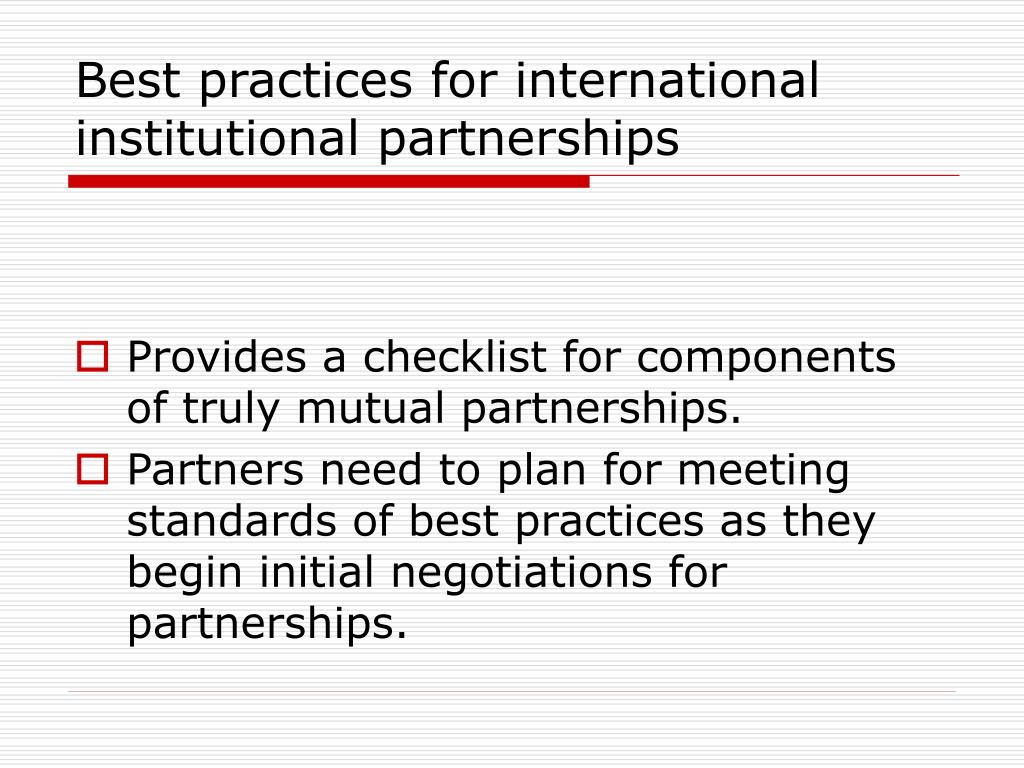 Best practices for international institutional partnerships
