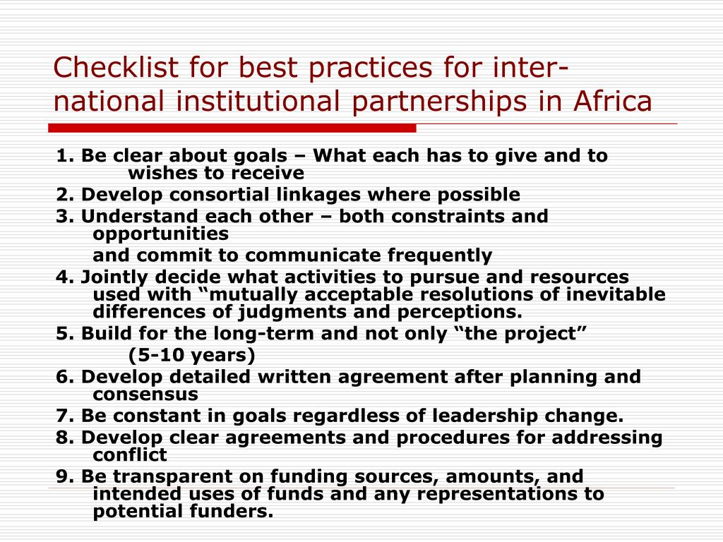 Checklist for best practices for inter-national institutional partnerships in Africa