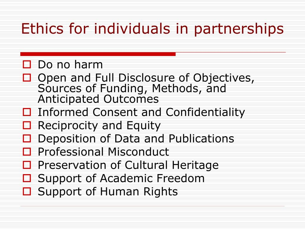 Ethics for individuals in partnerships
