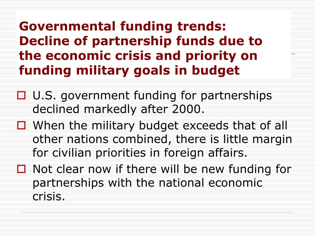 Governmental funding trends: