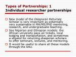 types of partnerships 1 individual researcher partnerships