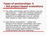 types of partnerships 4 aid project based evaluations