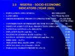 2 0 nigeria socio economic indicators year 2003