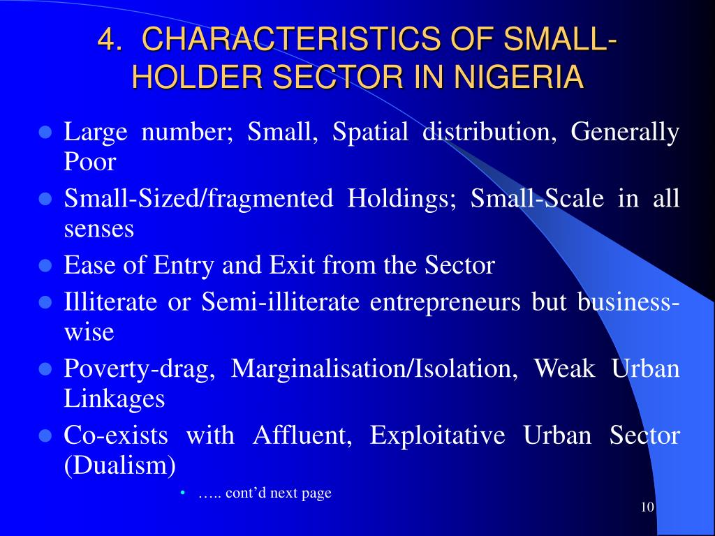 4.  CHARACTERISTICS OF SMALL-HOLDER SECTOR IN NIGERIA