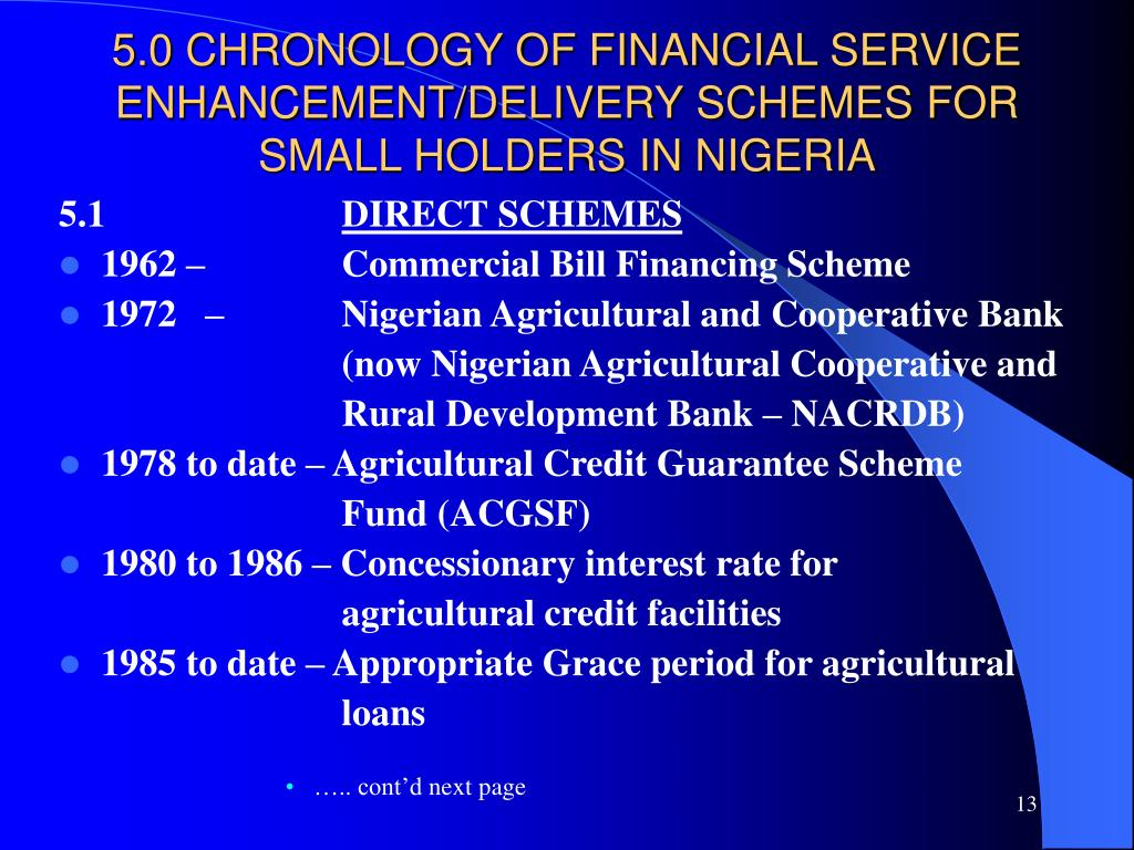 5.0 CHRONOLOGY OF FINANCIAL SERVICE ENHANCEMENT/DELIVERY SCHEMES FOR SMALL HOLDERS IN NIGERIA