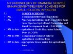 5 0 chronology of financial service enhancement delivery schemes for small holders in nigeria