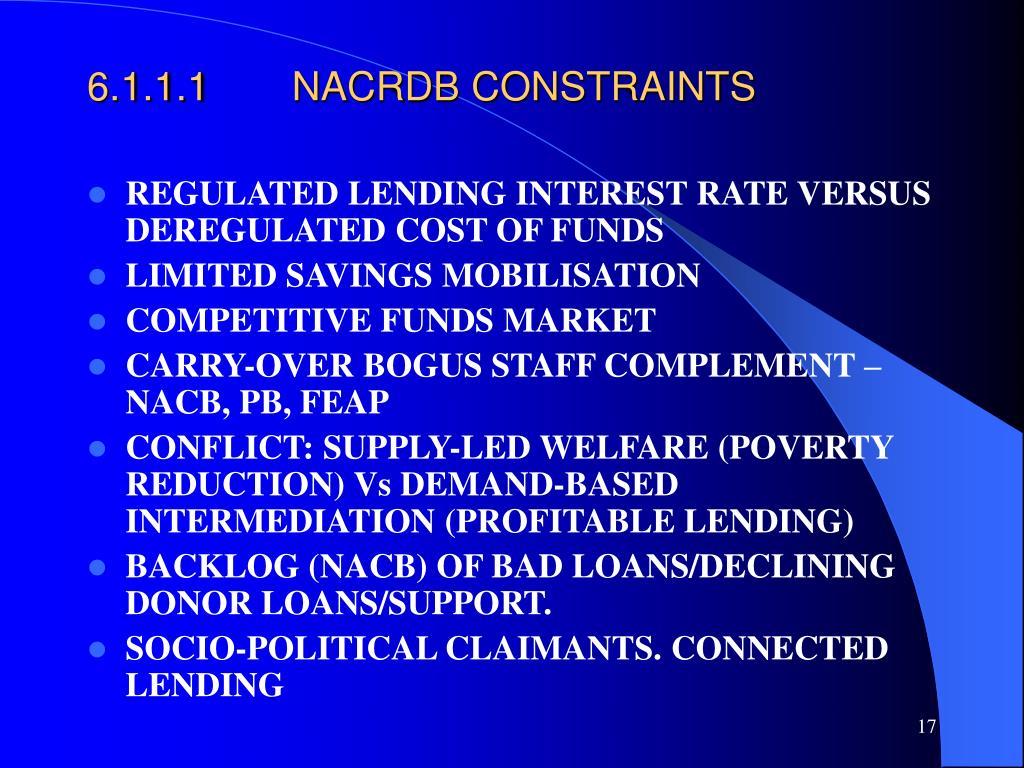 6.1.1.1NACRDB CONSTRAINTS