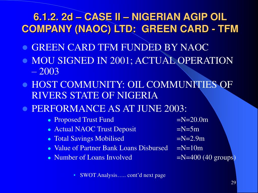 6.1.2. 2d – CASE II – NIGERIAN AGIP OIL COMPANY (NAOC) LTD:  GREEN CARD - TFM