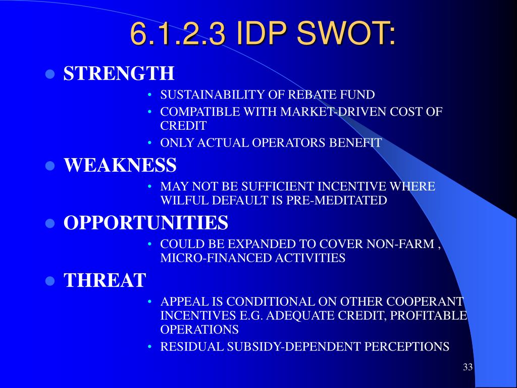 6.1.2.3 IDP SWOT: